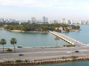 Vue de Miami en quittant le port